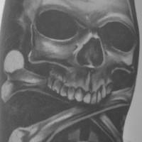 Realistic pirate skull tattoo