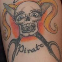 Girly pirate skull and scissors tattoo