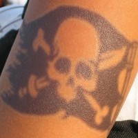 Pirate flag black ink tattoo