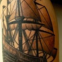 Pirate sailing vessel black ink tattoo