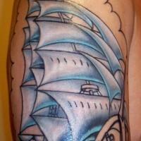 Undone pirate sailing vessel tattoo
