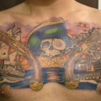 Pirate skull with guns and ships tattoo on chest