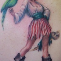 Pirate girl with parrot tattoo