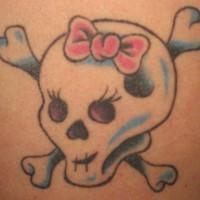 Girly skull and crossed bones tattoo
