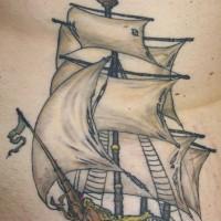 Realistic pirate sailing vessel tattoo