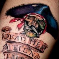 Pirate skull dead men tell nothing tattoo