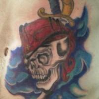 Pirate skull and sword in sea tattoo