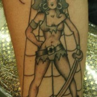 Pirate girl with sword tattoo