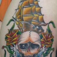 Pirate ship with skull and roses tattoo