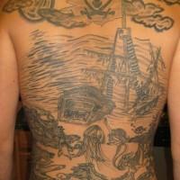 Pirata tatuaggio sulla schiena piena