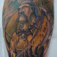 Colored pirate warrior tattoo