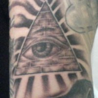 Pyramid with all seeing eye tattoo