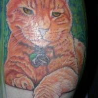 Le tatouage mémorial réaliste de chat rousse