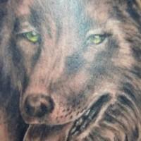 Realistic good wolf head tattoo