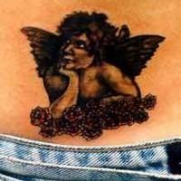 Angelo pensieroso tatuaggio