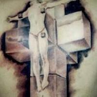 Crocefisso tatuaggio sulla schiena piena