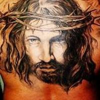 Large jesus portrait tattoo on back