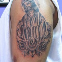 Nice jesus and roses tattoo