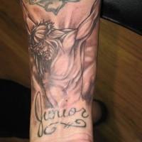Jesus crucifixion tattoo on arm