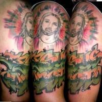 Jesus and graffiti tattoo