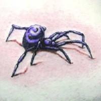 Realistic 3d black widow tattoo