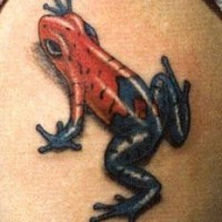 3d red and blue frog tattoo