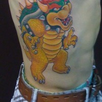 Rib tattoo, cartoon, colourful yellow dinosaur