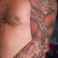Realistic muscle flesh  tattoo on arm