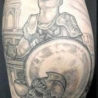 Roman gladiator black ink tattoo