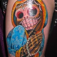 Colourful dia de muertos skeleton tattoo