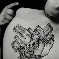 Praying hands with cross and rosary tattoo