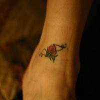 Small rose flower tattoo on ankle
