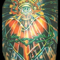 Sacred heart with all seeing eye