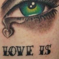 Sad eye tattoo with love is pain writing