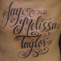 scritto caligrafico nome bambino tatuaggio