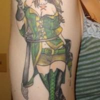 Sexy pirate girl pinup tattoo