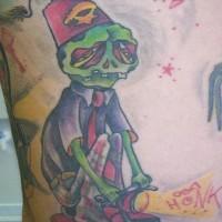triste zombie shriner tatuaggio colorato
