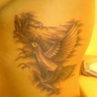 Tatuaggio non colorato sul fianco gli uccelli