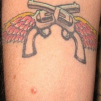 Two winged shooters tattoo on hand