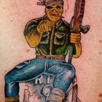 Monster warrior on grave tattoo