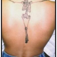 Realistic skeleton tattoo on back