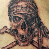 Pirate skull and bones tattoo in 3d