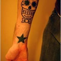 Sugar skull with bow tie tattoo