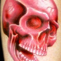 Highly detailed red skull tattoo