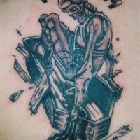 Skeleton in coffin with freedom tattoo