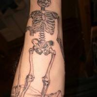 Realistic human skeleton tattoo on arm