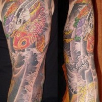 Asian style sleeve tattoo with koi fish