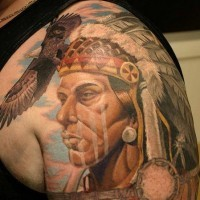 Colourful realistic native american tattoo
