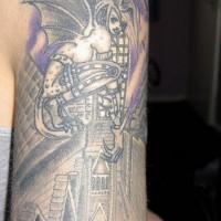 Sexy gargoyle in city tattoo