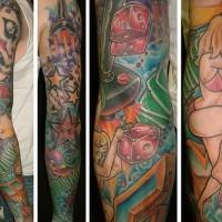 Classic pin up sleeve tattoo